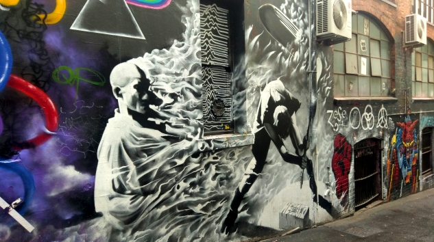 Street Art 001 - AC-DC Lane; Sacrifice and Rock & Roll 01